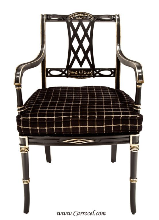 Black Lacquered Regency Living Room Arm Chair with Silver Leaf | From a unique collection of antique and modern armchairs at https://www.1stdibs.com/furniture/seating/armchairs/
