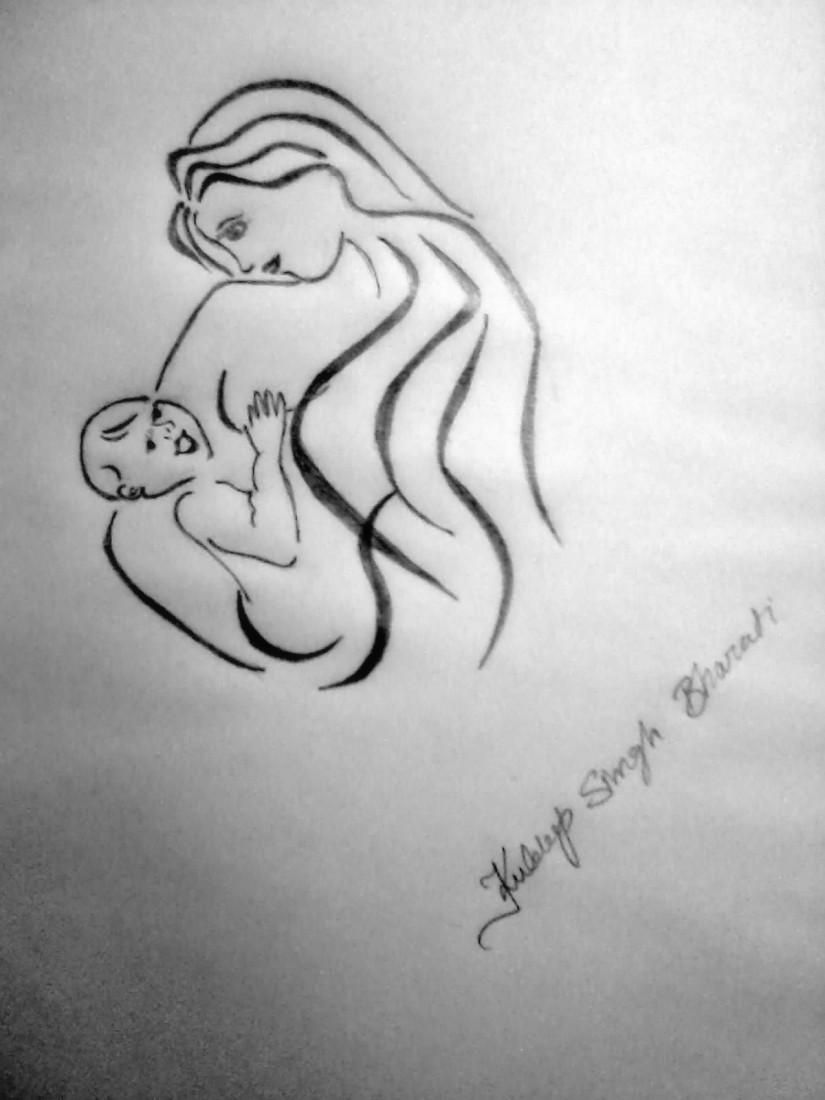 Love you mom sketching by kuldeep singh in my skeches at touchtalent