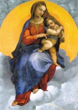 Madonna mit Kind auf den Wolken - detalle (K60-46) postal