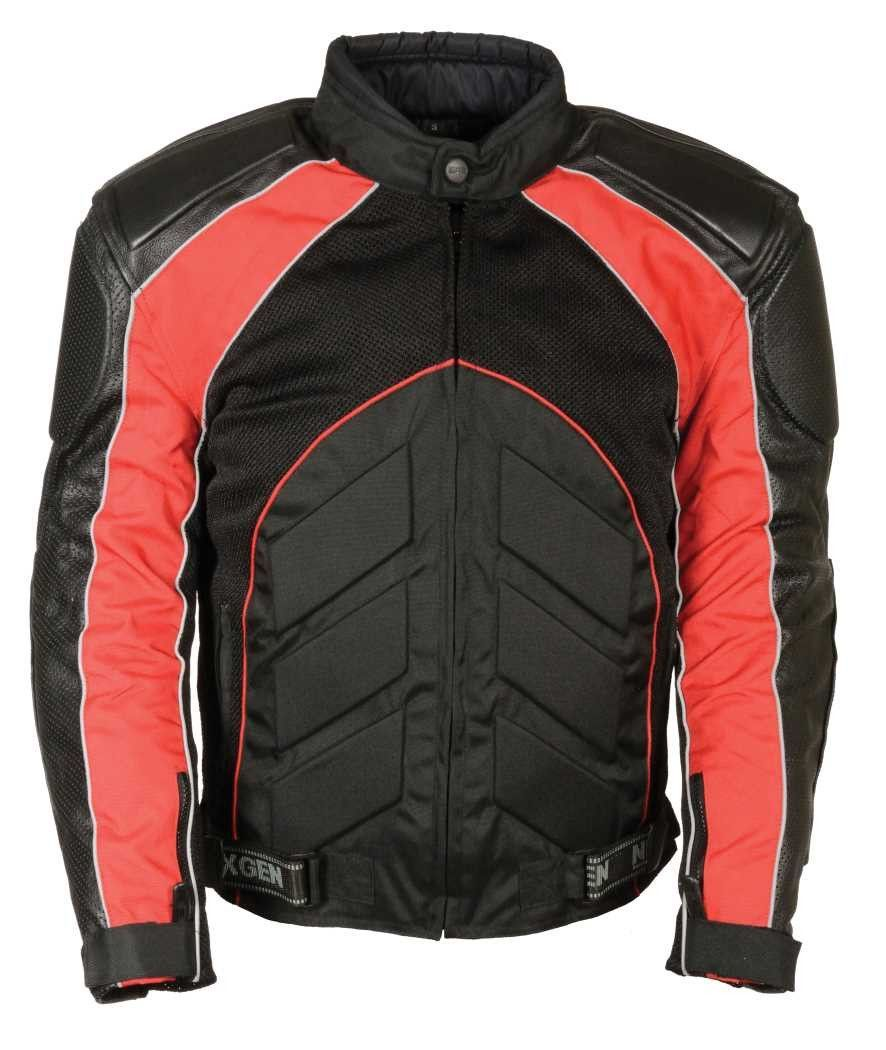 Men S Blk Red Fully Armour Combo Textile Leather Jacket Best