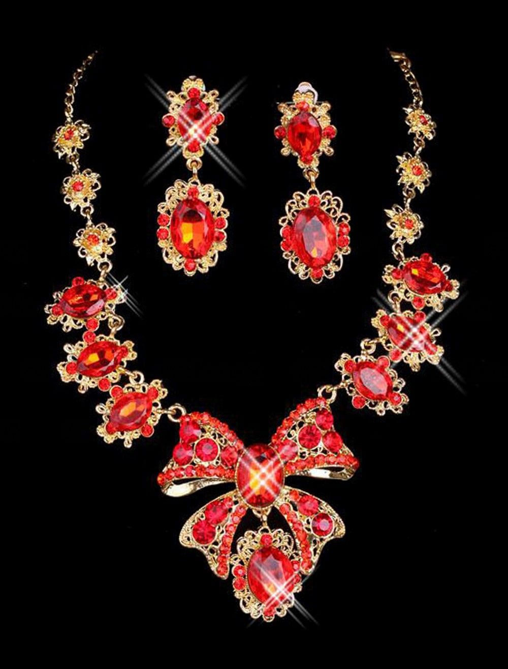 Exotic Red Diamond Bow Jewelry Set For Bridal Wedding Accessories