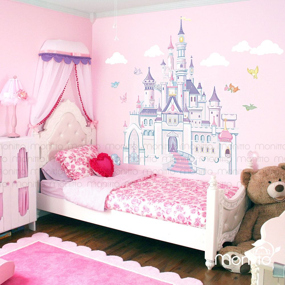 disney princess castle with colorful birds and squirrel on wall stickers for kids id=25145