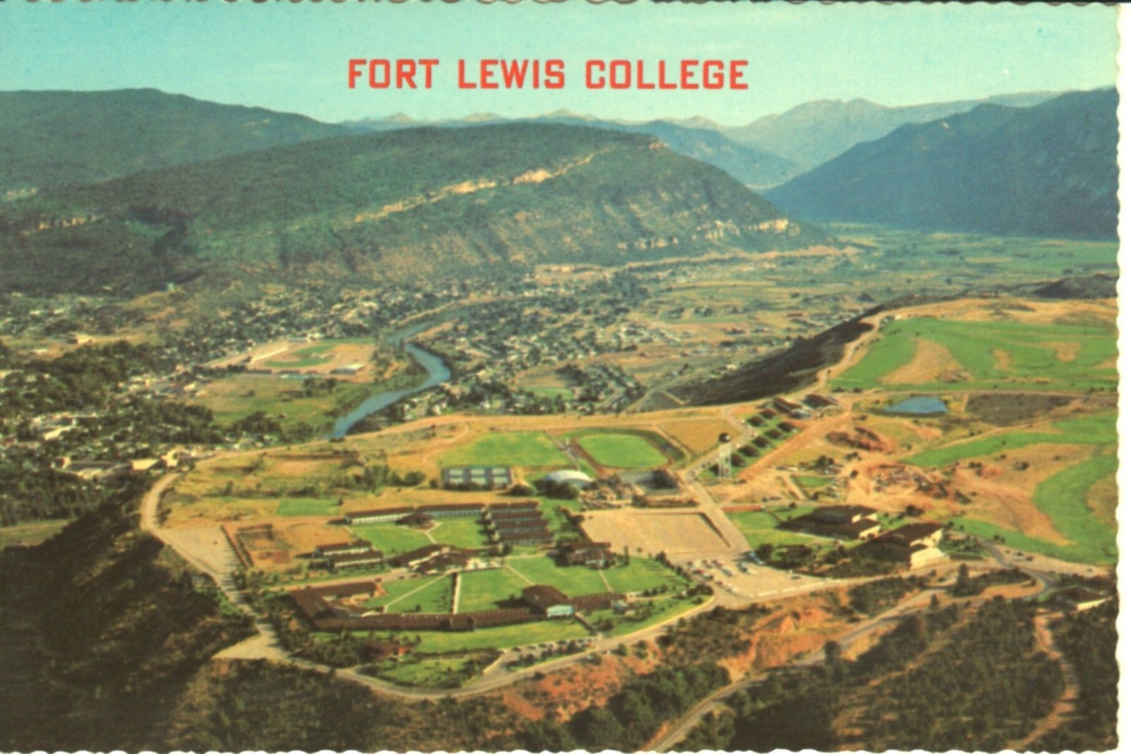 Aerial view of fort lewis college durango colorado vintage postcard ebay