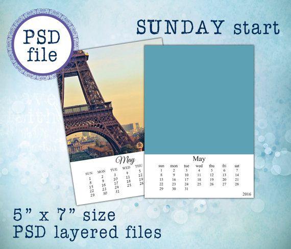 2018 And 2017 Psd Calendar Templates 5x7 C07 Sunday Start