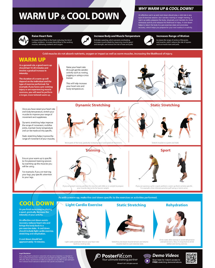 Warm up and cool down poster exercise pinterest exercises warm up and cool down professional fitness training wall chart poster wqr code posterfit geenschuldenfo Images