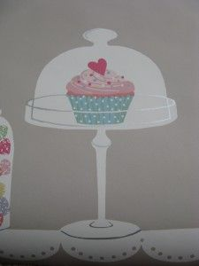 Cupcake On a Pedestal--  My new kitchen wallpaper!  I am sooo excited!