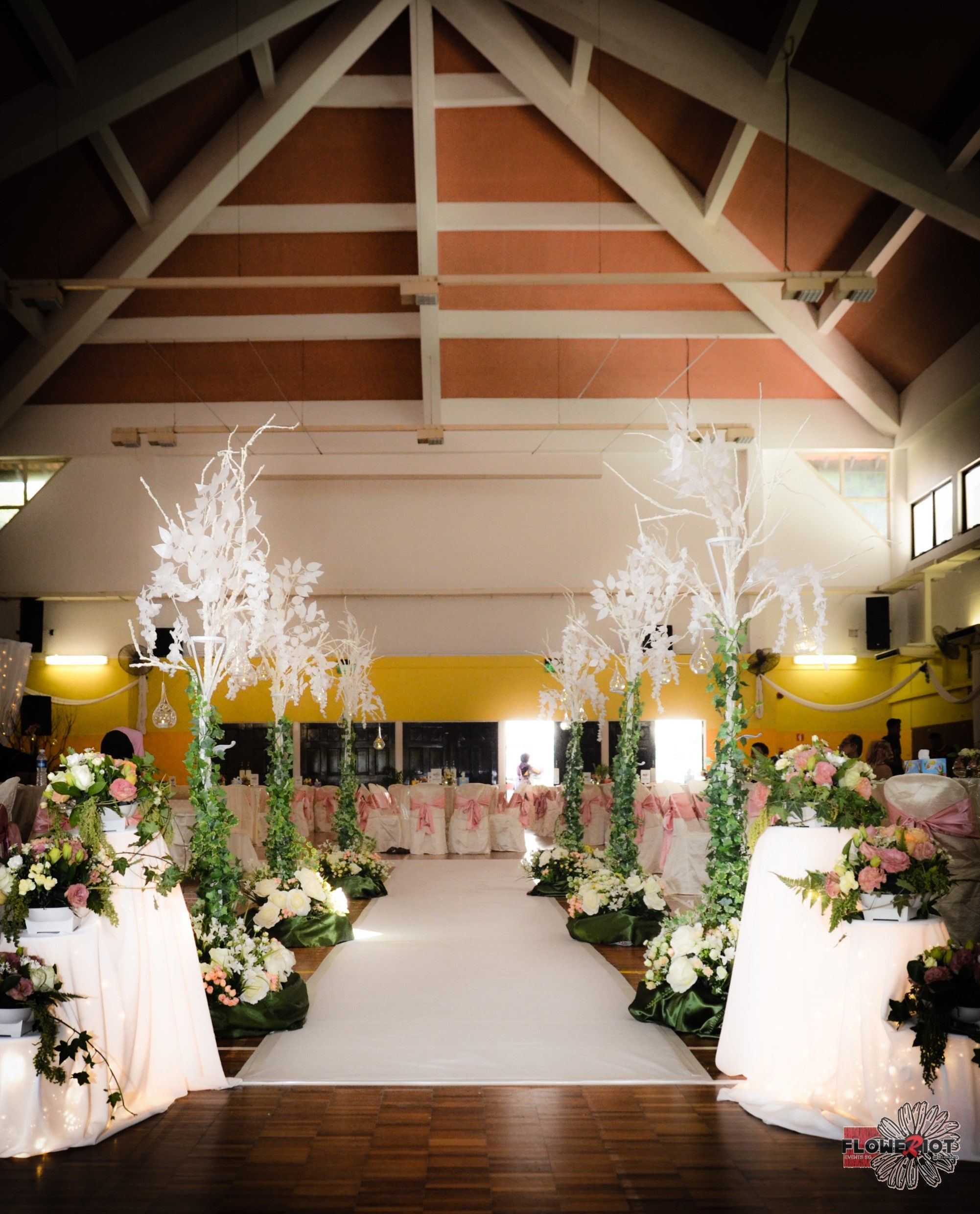 Decoration images for wedding  Surreal garden wedding aisle with white tall trees and floral bases