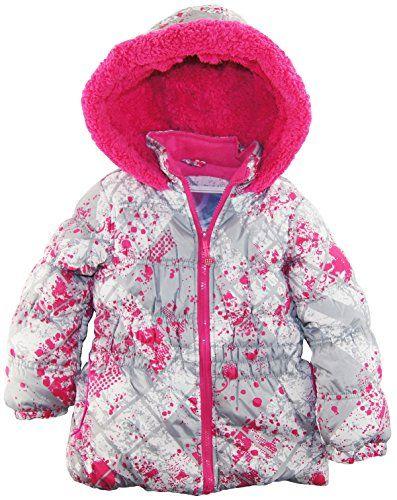 40911e1c2126 Big Chill Little Girls Colorful Warm Paint Splatter Puffer Winter ...