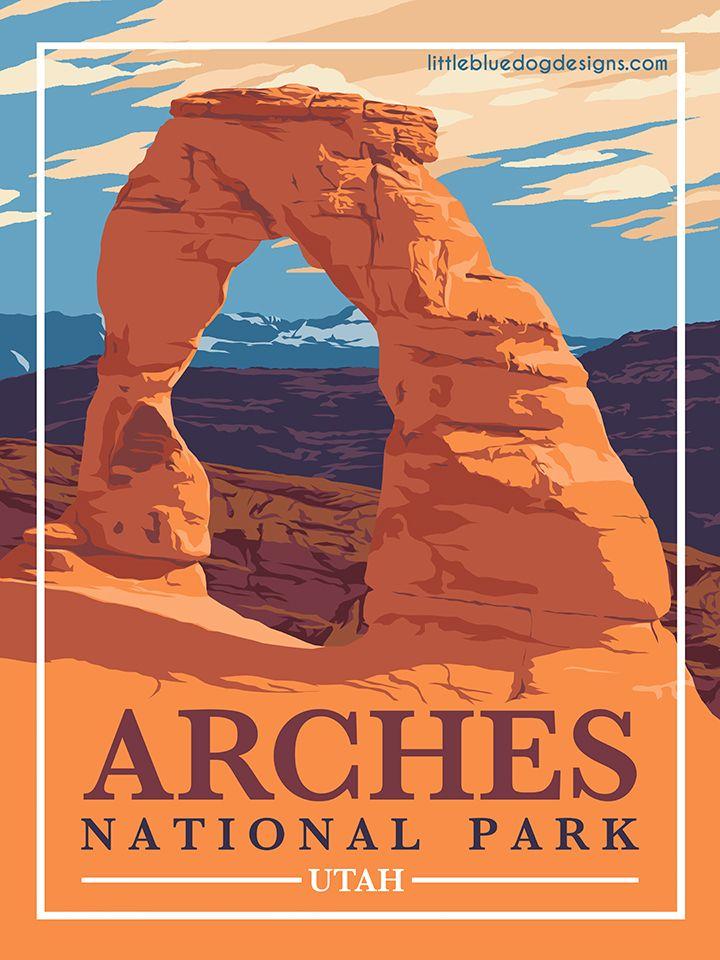 Arches National Park Utah Vintage Travel Poster Etsy Vintage National Park Posters Arches National Park Utah Utah National Parks