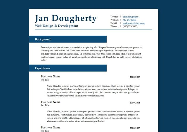 professional resume template - Free Contemporary Resume Templates