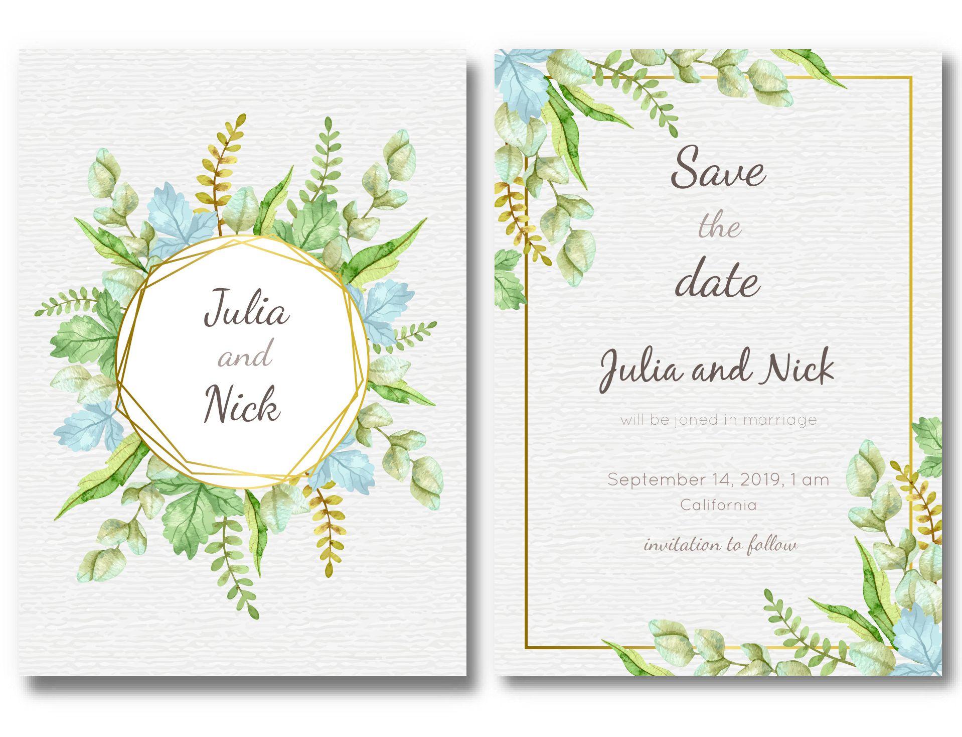 lovely green leaves wedding invitation template