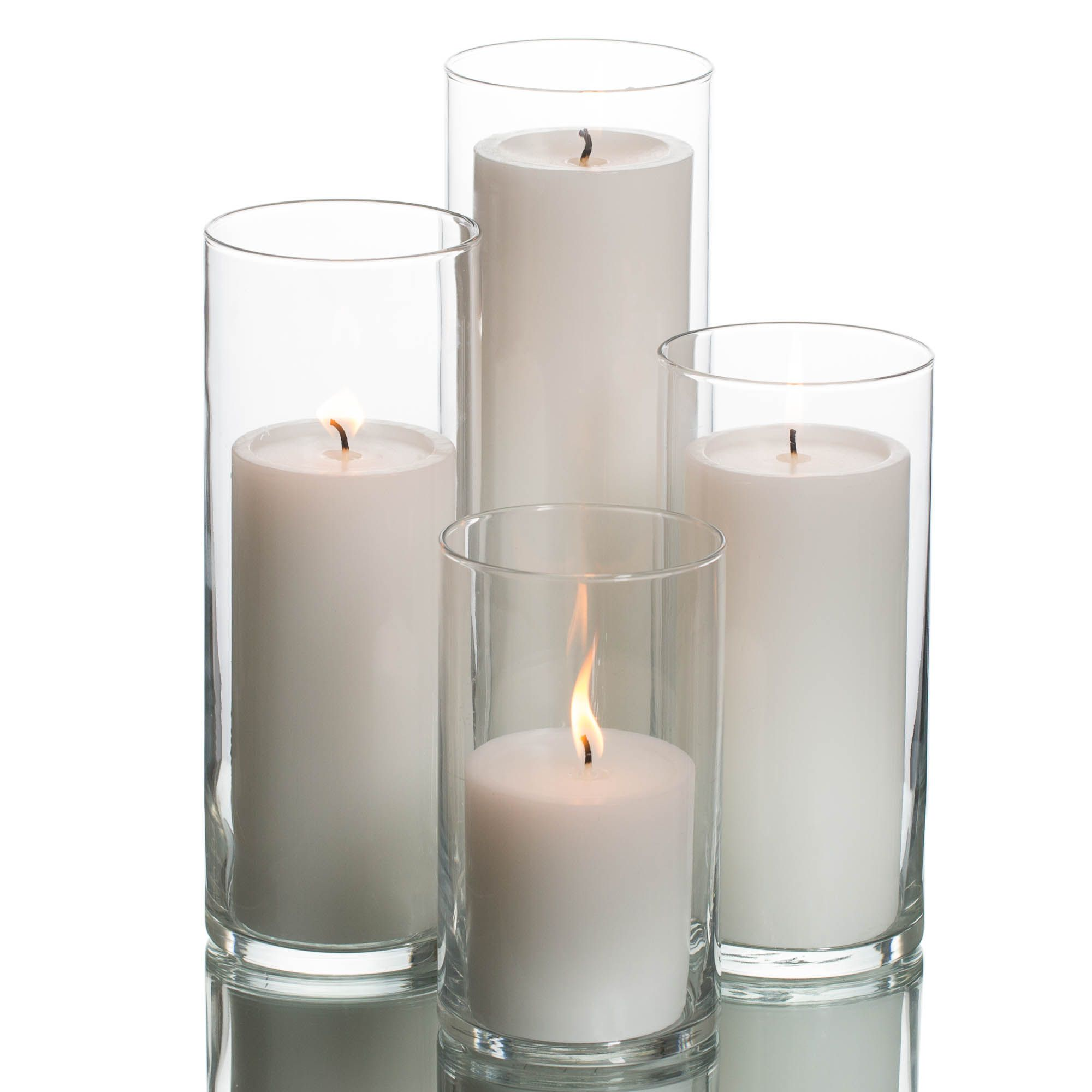 Richland Pillar Candles & Eastland Cylinder Holders Set of 48 #whitecandleswedding