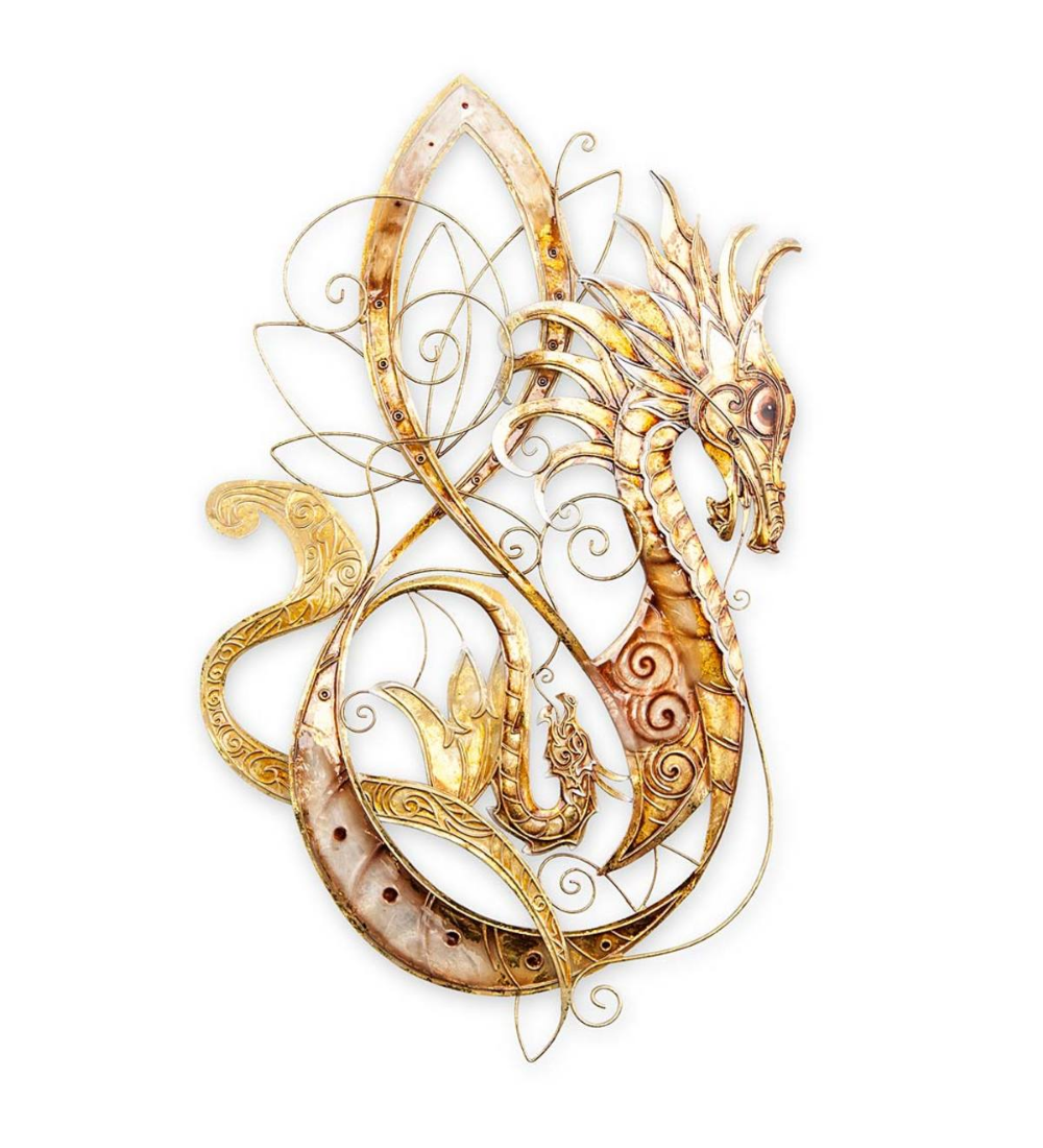 Handcrafted From Metal But Looking Lighter Than Air Our Golden Metal And Capiz Dragon Wall Art Will Add Drama To Dragon Wall Art Dragon Wall Hanging Pendants
