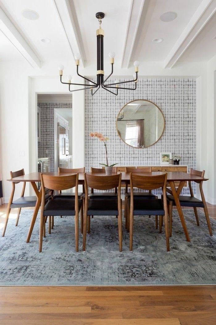 Fesselnd Wandgestaltung Ideen Esszimmer Akzentwand Vintage Teppich