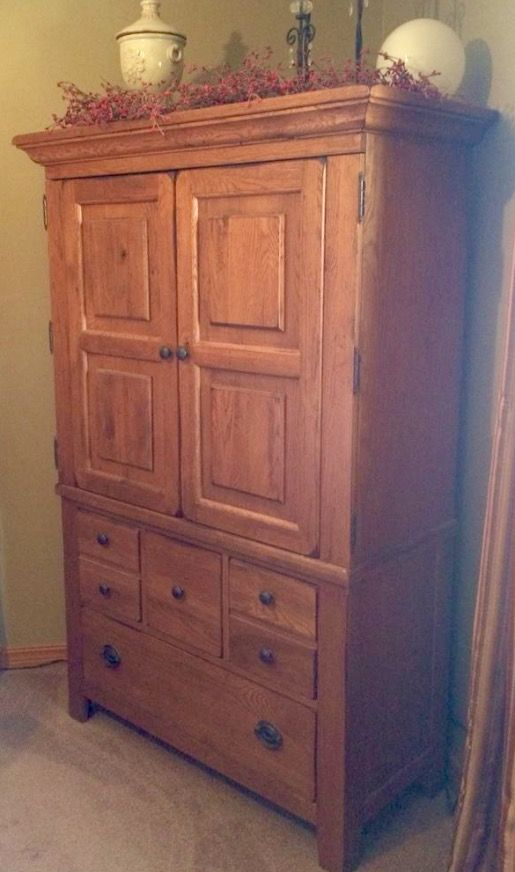 Broyhill Attic Heirlooms Armoire In Oak Stain Broyhill