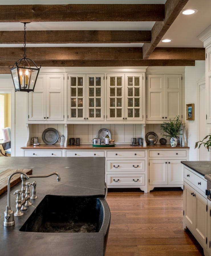 Open Farmhouse Kitchen With Wood Beams Display Cabinetry Large Central Island Kitchen Colon Farmhouse Style Kitchen Ceiling Fan In Kitchen Kitchen Remodel