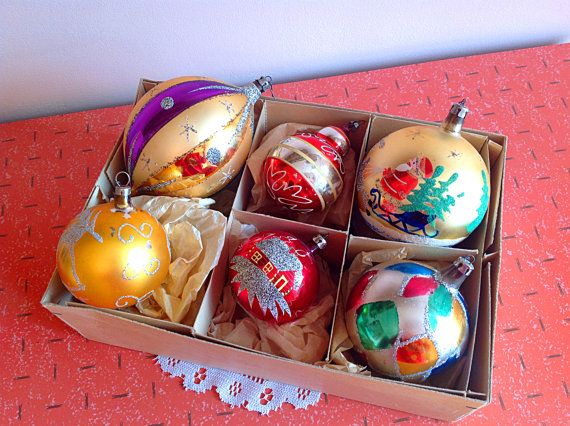 Vintage big Christmas glass ornaments, Gorgeous set of big vintage