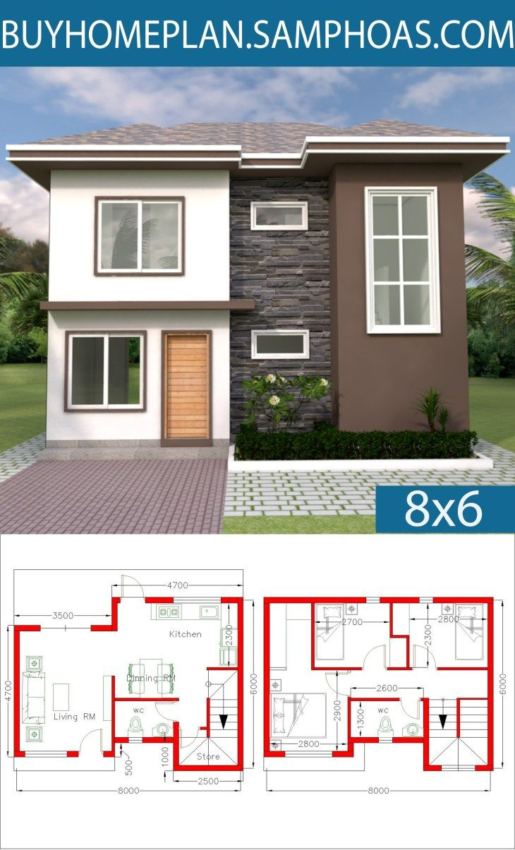 Home Design 8x6m With 3 Bedrooms Samphoas Com Small House Design Plans Architectural House Plans House Design