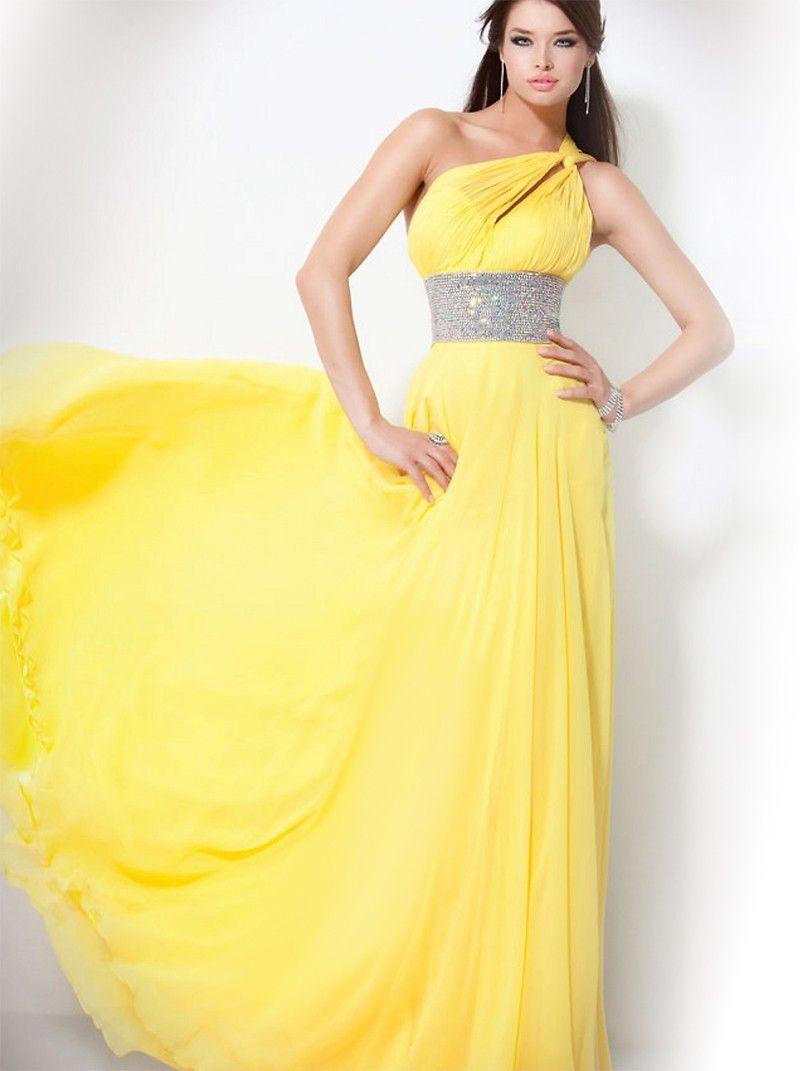 Empire Asymmetrisch Bodenlänge Abendkleid Gelb Chiffon