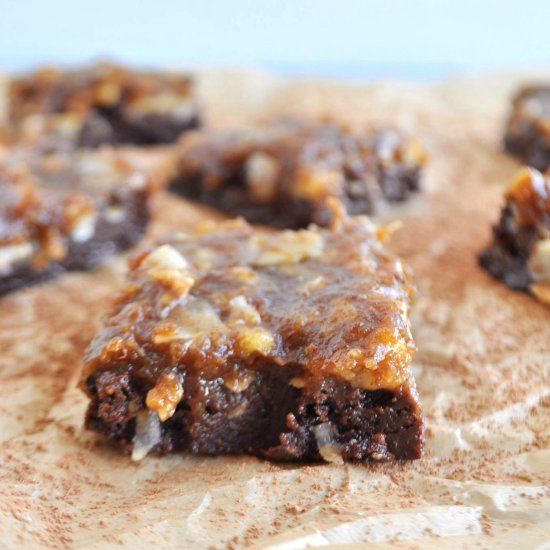 Raw German Chocolate Brownies. Raw, vegan, paleo, gluten free. No oven needed.