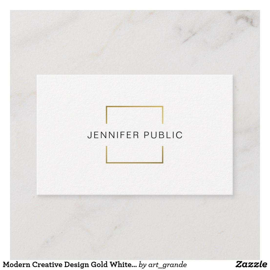 Modern Creative Design Gold White Professional Business Card