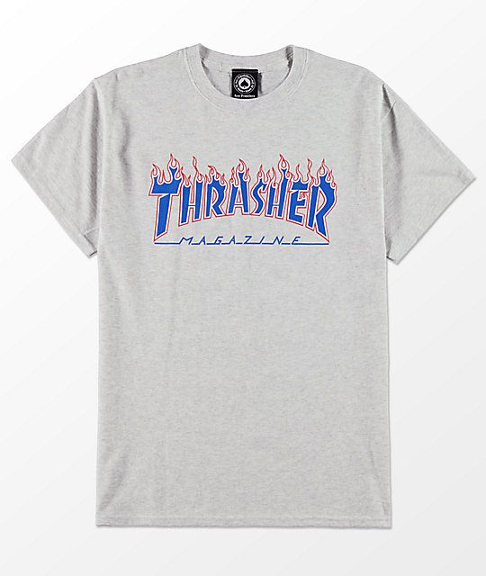 e178b95d85fe Thrasher Magazine Patriot Flame Ash Grey T-Shirt in 2019 ...