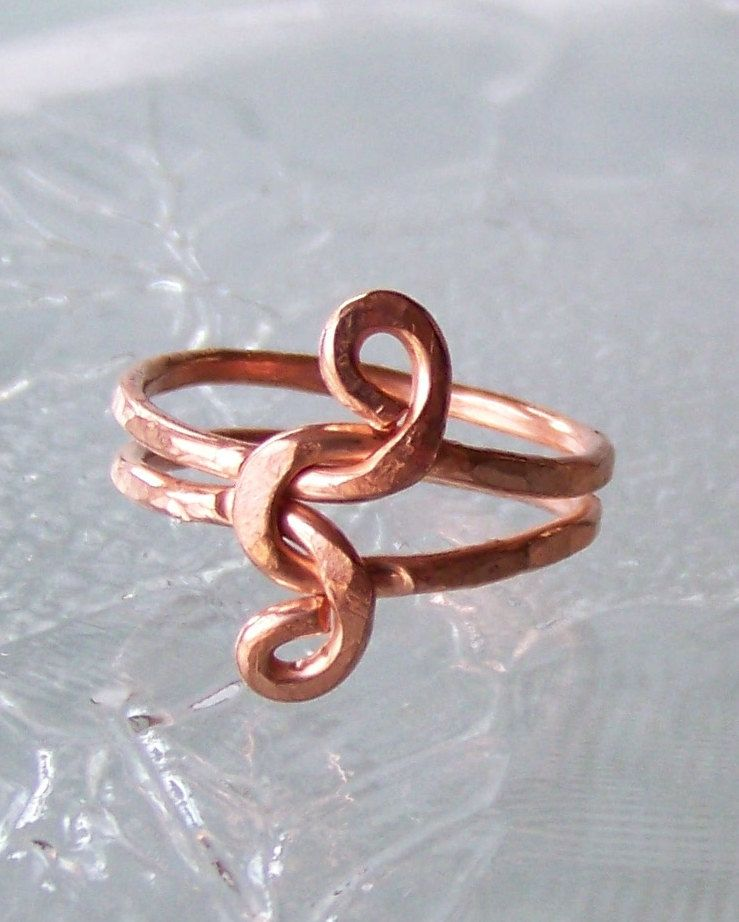 Ring sz 8.5 - Infinity Love Knot Wire Wrapped Hammered Copper ...