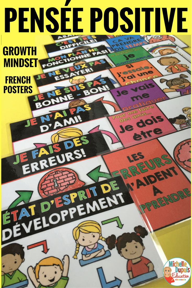 Motivate your students with these 15 colorful French posters. These are perfect to encourage a growth mindset in the classroom. Help your students understand that their abilities and talents can be developed through effort and positive thinking.