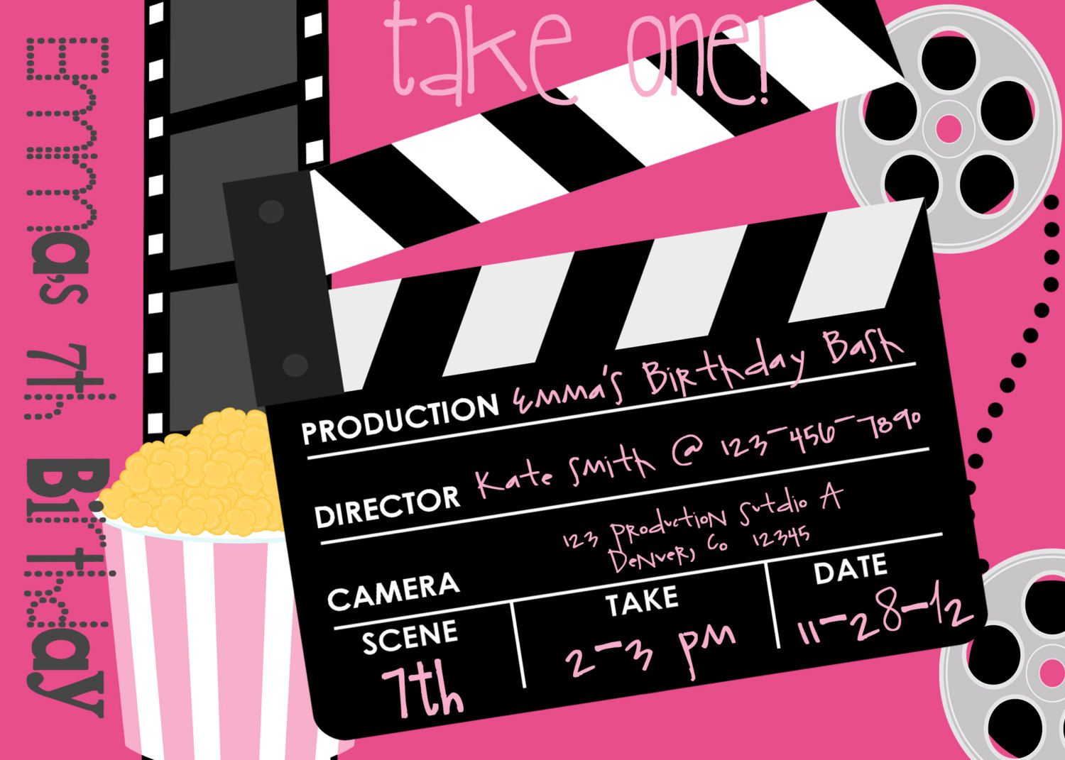 printable movie birthday party invitation this is a listing for a printable dpi digital file product jpeg pdf can be printed on - Movie Birthday Party Invitations