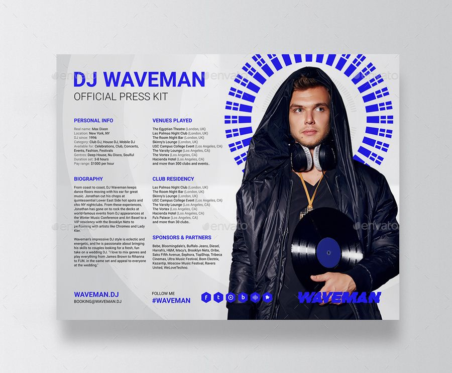 Wave Dj Press Kit Dj Resume Dj Rider Psd Template Psd Templates Press Kit Templates