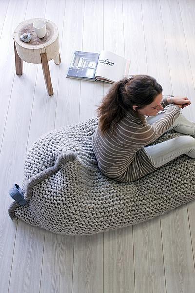 Zitzak Zila Lila.Knit Bean Bag Chair Diy Breien Interieur Zitzak Gebreide Kussens