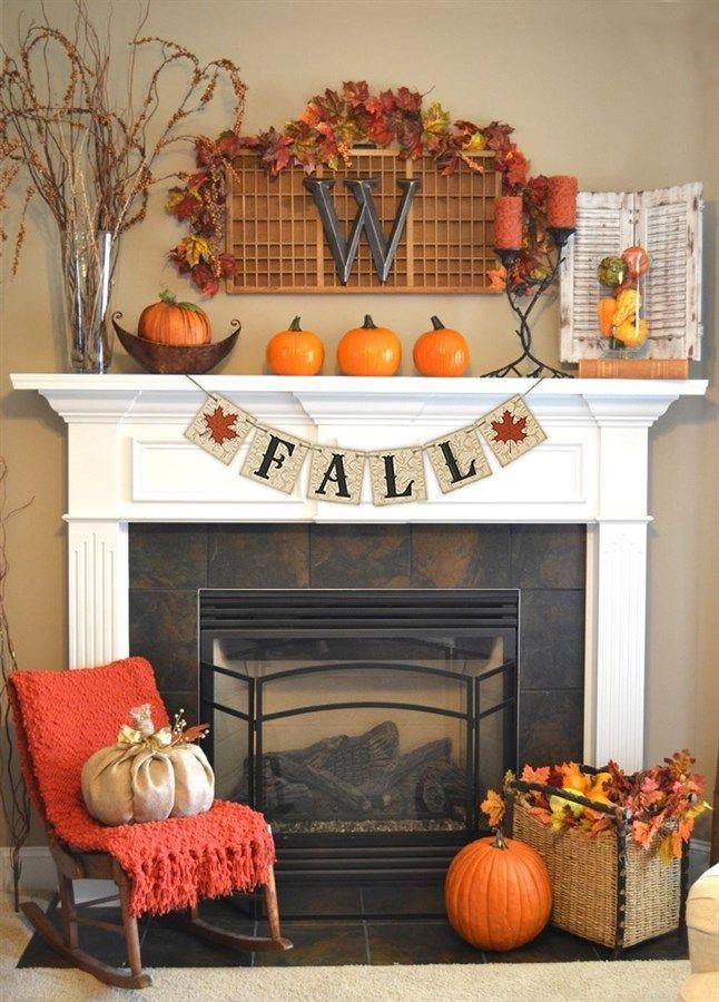 Fall Themed Decor Banner Fall Mantel Decorations Fall Fireplace