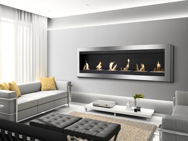 Maximum Wall Mounted Ventless Ethanol Fireplace With Glass Barrier