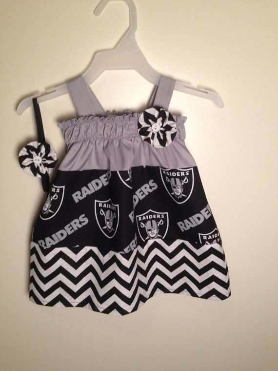 ca69a32a003d Raiders Football Custom handmade Baby Girl Dress 0-3 Months with ...