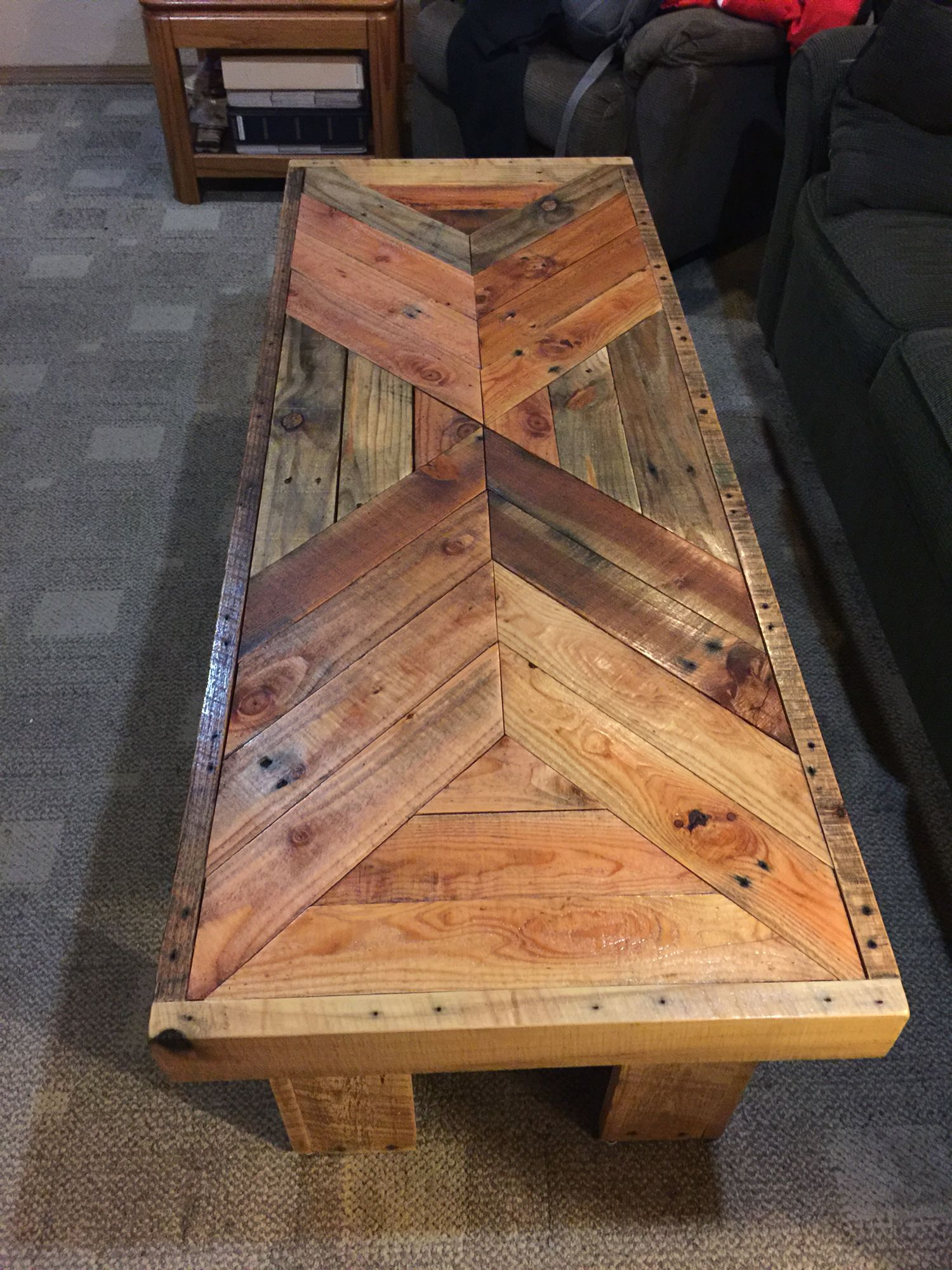 Coffee table made from pallet wood I used pocket holes for all