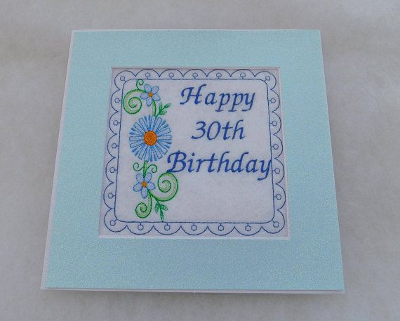 Birthday card happy 30th birthday extra large ideal for framing birthday card happy 30th birthday extra large ideal for framing handmade machine embroidered happy 30th etsy cards and card machine bookmarktalkfo Images
