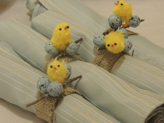 Items similar to Clearance Sale- Easter Chick and Egg Burlap Napkin Rings- Set of 4 on Etsy