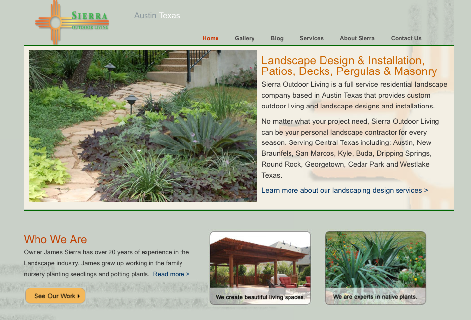 Sierra Outdoor Living In Austin Greatoutdoors Austinoutdoors Landscape Design Landscaping Company Web Design Projects