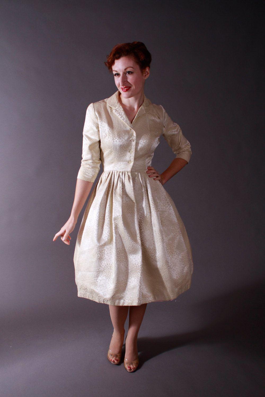 Vintage s wedding dress rich ivory brocade shirtwaist style