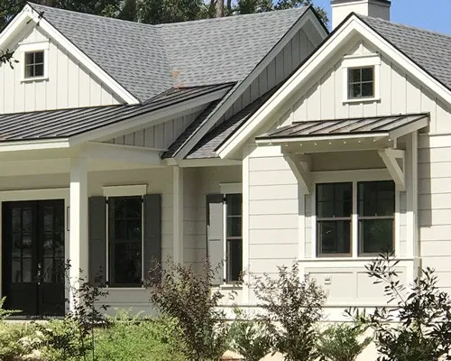 Shed Roof Over The Window On A Farmhouse Style House Project Small House Farmhouse Style Metal Roof Over A In 2020 Shed Roof Farmhouse Style House Metal Roof Houses