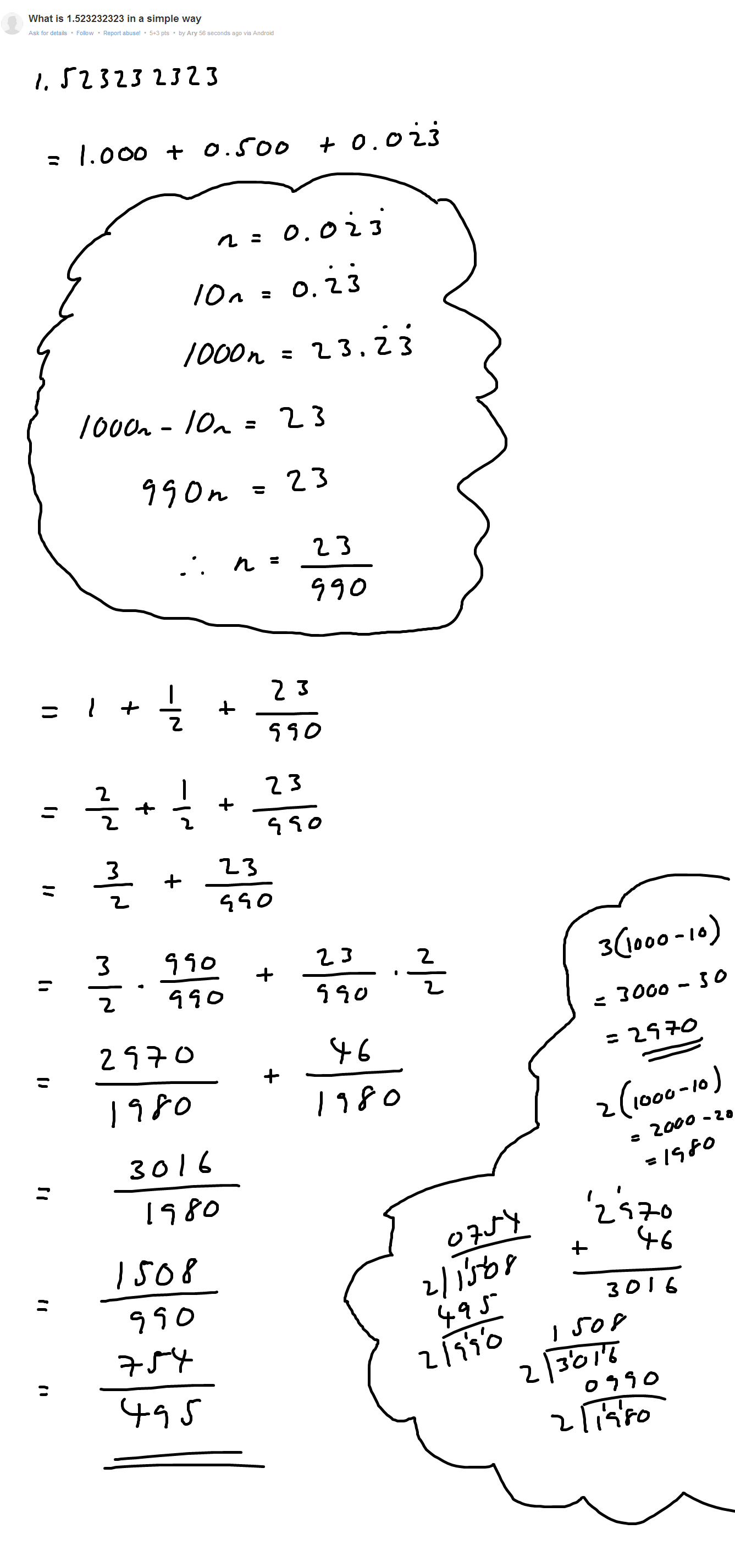 Another repeating decimal problem...