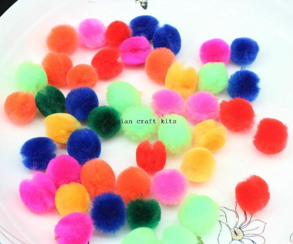 "1000pcs 3/4"" mini small colorful neon rainbow color 20mm Acrylic shiny Craft Pom Poms - Ball mix color alishoppbrasil"