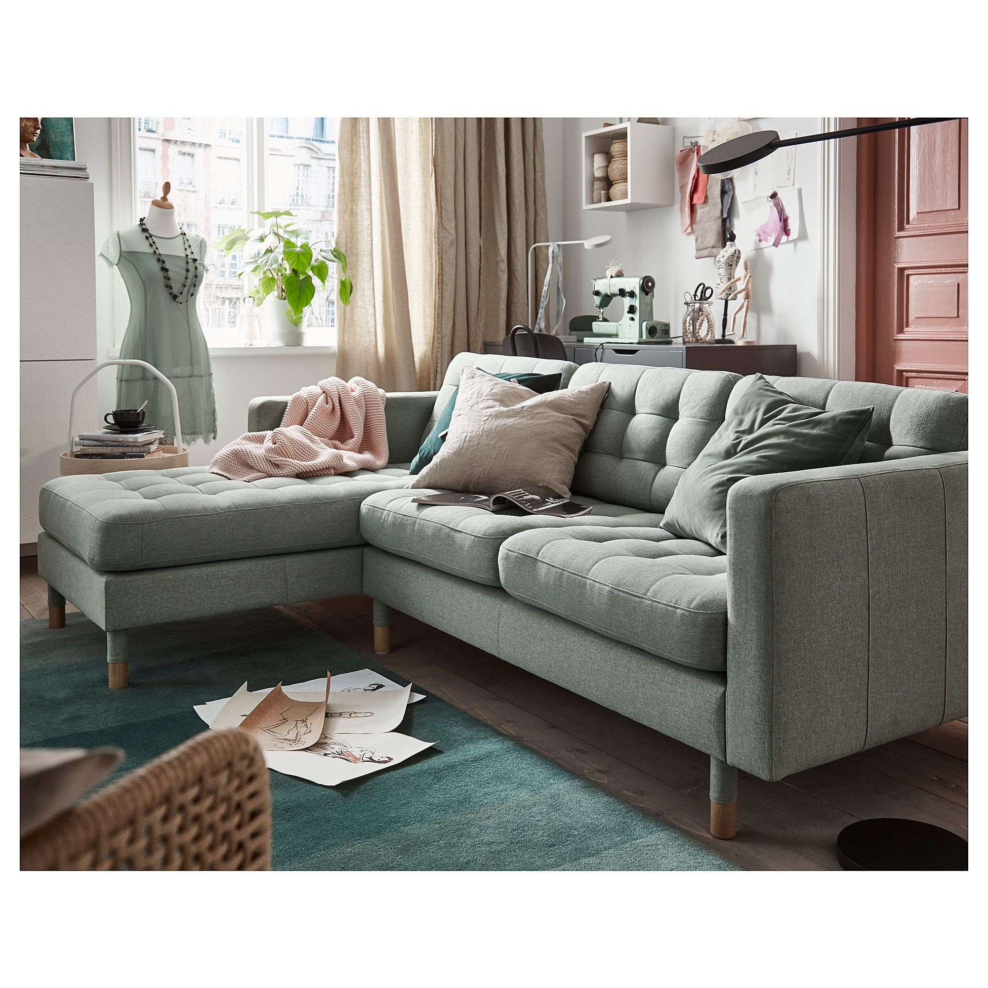 Landskrona Sofa With Chaise Gunnared Dark Gray Wood Green Couch Living Room Green Sofa Living Room Living Room Sofa