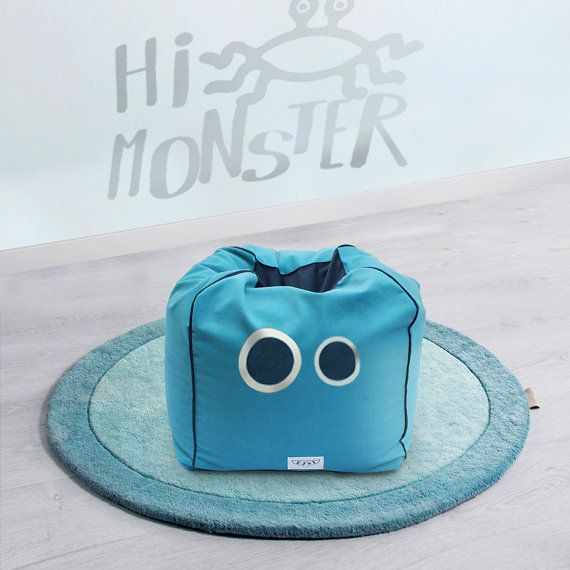 Superb NEW: Monster Kids Poufs, Ottoman, Bean Bag Chairs, 60x48cm (cover +