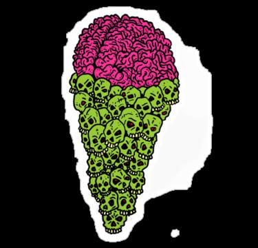 Skull scream cone brains zombie