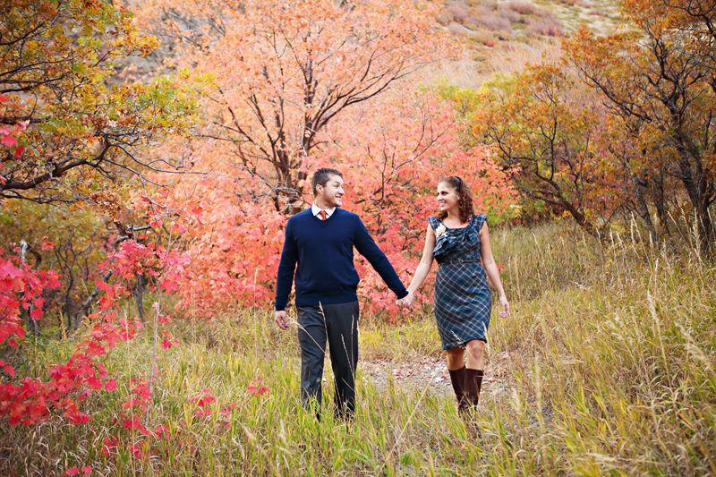 Park City Utah fall leaves engagement photography