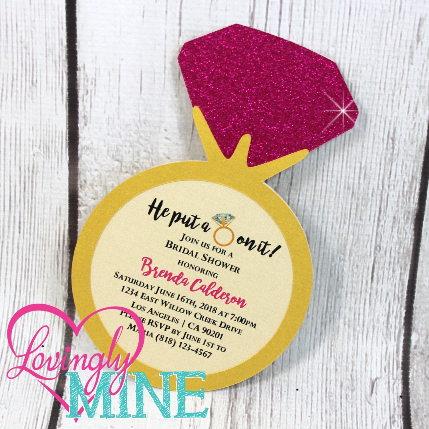 Ring Shape Invitations in Hot Pink & Gold, Double Sided - Bridal ...
