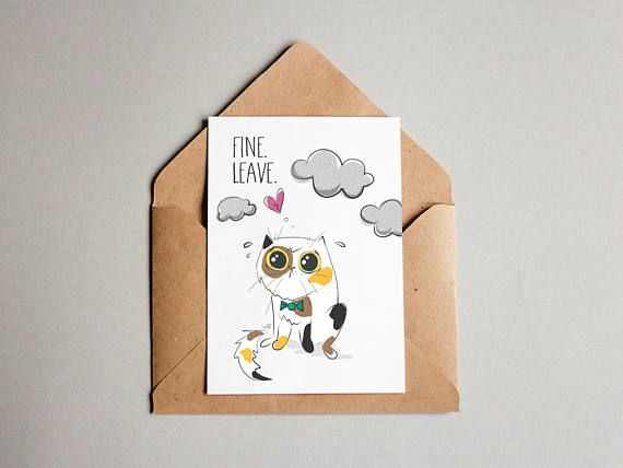 graphic about Going Away Card Printable named Printable Goodbye Go away Me Cat with Ruined Centre - Declaring
