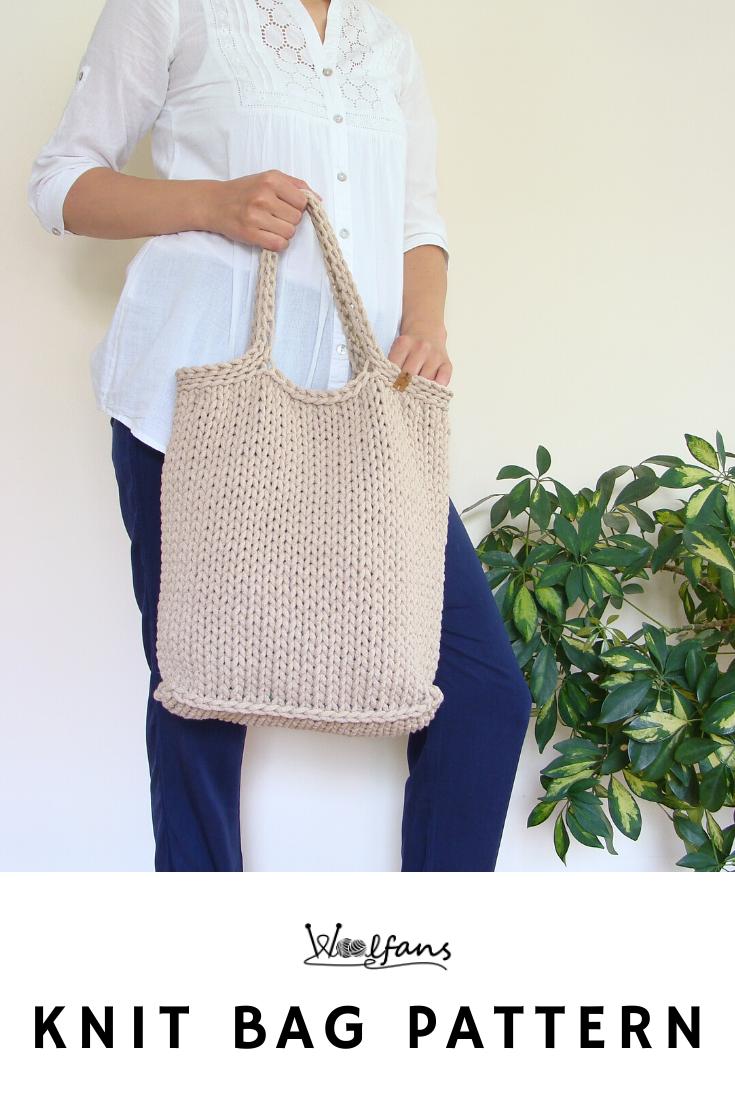 beginner friendly handbag pattern easy knit pattern pdf pattern Tote bag knitting pattern