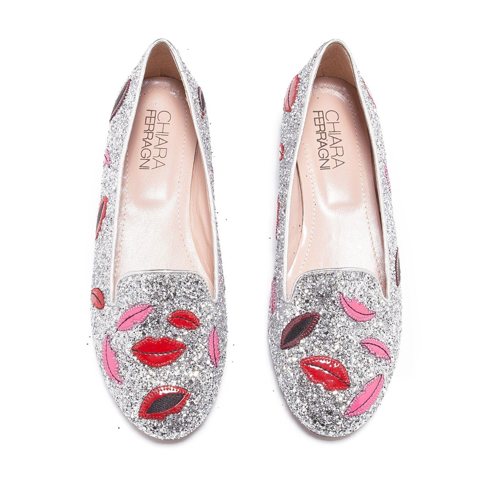 Chiara Ferragni Chaussures Slip on en paillettes d 'argent avec chausse Meilleur Magasin Pour Obtenir En Ligne Pas Cher jejEkG